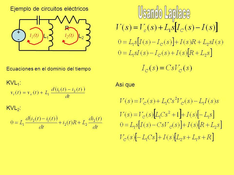 Ejemplo de circuitos eléctricos +-+- R L1L1 L2L2 KVL 1 : KVL 2 : Asi que Ecuaciones en el dominio del tiempo i 1 (t)i 2 (t)