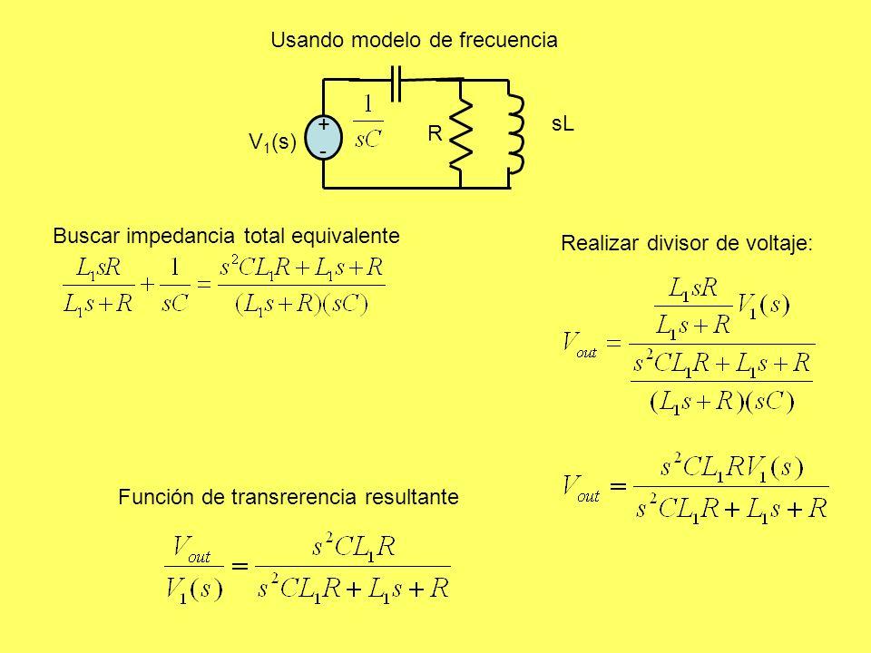 Usando modelo de frecuencia +-+- R sL V 1 (s) Realizar divisor de voltaje: Función de transrerencia resultante Buscar impedancia total equivalente