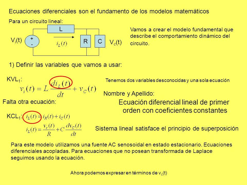 Ecuaciones diferenciales son el fundamento de los modelos matemáticos Vamos a crear el modelo fundamental que describe el comportamiento dinámico del circuito.