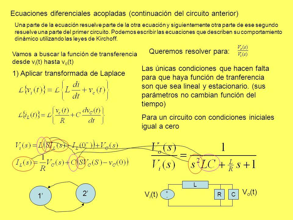 Ecuaciones diferenciales acopladas (continuación del circuito anterior) Una parte de la ecuación resuelve parte de la otra ecuación y siguientemente otra parte de ese segundo resuelve una parte del primer circuito.