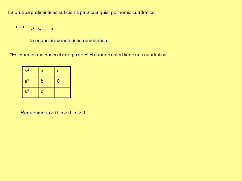 La prueba preliminar es suficiente para cualquier polinomio cuadrático sea la ecuación característica cuadrática: *Es innecesario hacer el arreglo de R-H cuando usted tiene una cuadrática Requerimos a > 0, b > 0, c > 0 s2s2 ac s1s1 b0 s0s0 c