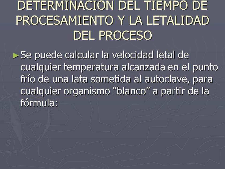 DETERMINACIÓN DEL TIEMPO DE PROCESAMIENTO Y LA LETALIDAD DEL PROCESO Se puede calcular la velocidad letal de cualquier temperatura alcanzada en el pun