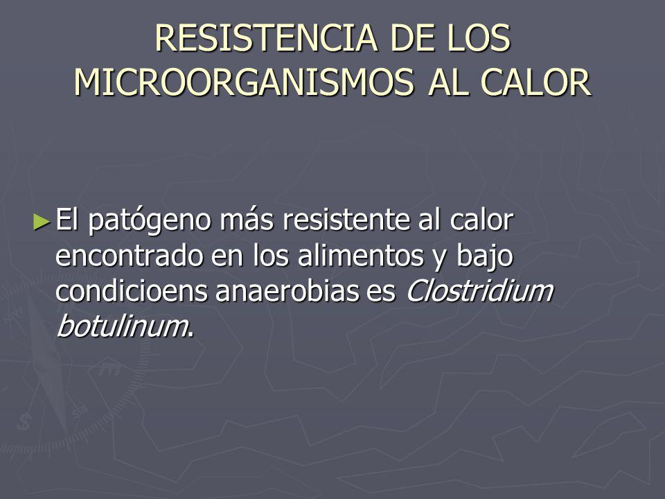 RESISTENCIA DE LOS MICROORGANISMOS AL CALOR El patógeno más resistente al calor encontrado en los alimentos y bajo condicioens anaerobias es Clostridi