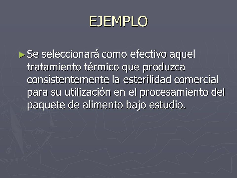EJEMPLO Se seleccionará como efectivo aquel tratamiento térmico que produzca consistentemente la esterilidad comercial para su utilización en el proce