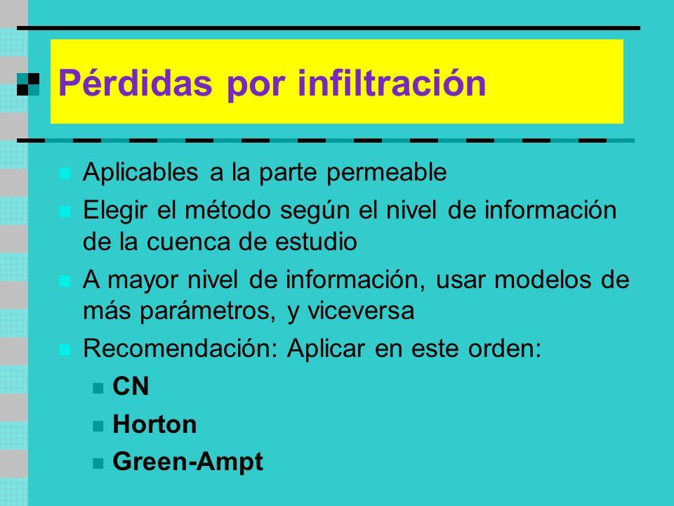 Pérdidas por infiltración Aplicables a la parte permeable Elegir el método según el nivel de información de la cuenca de estudio A mayor nivel de info