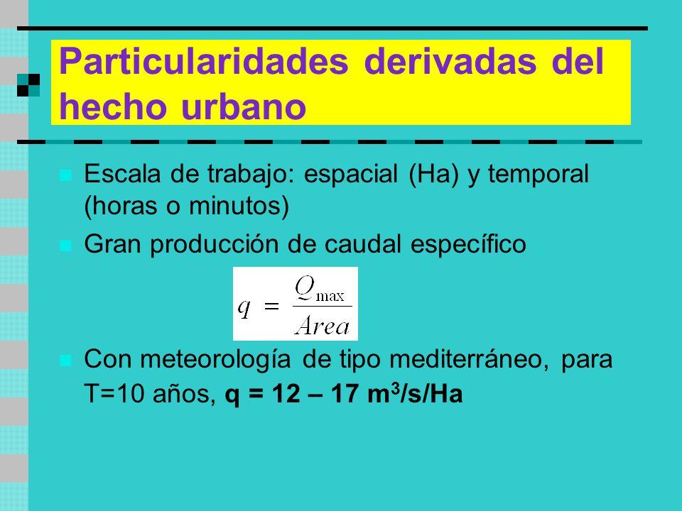 Particularidades derivadas del hecho urbano Escala de trabajo: espacial (Ha) y temporal (horas o minutos) Gran producción de caudal específico Con met