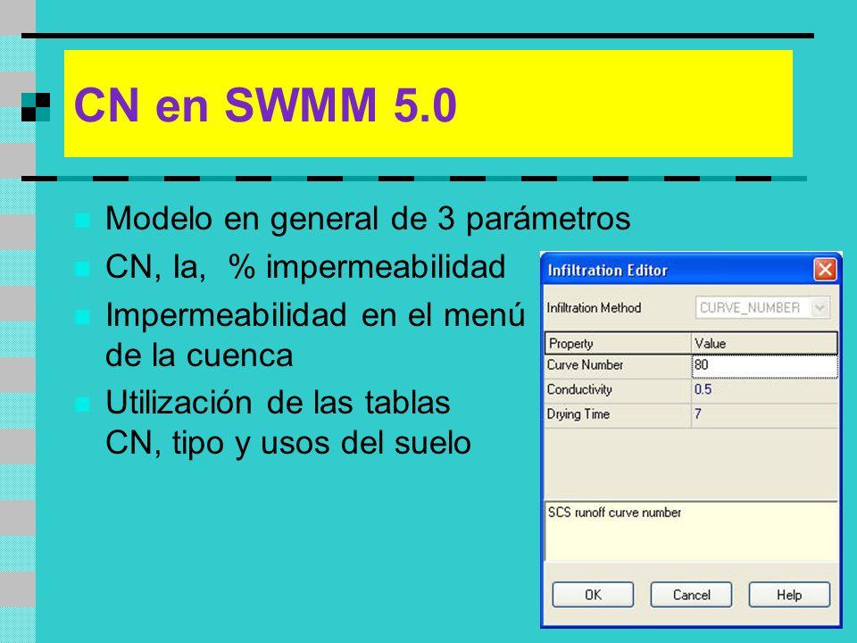 CN en SWMM 5.0 Modelo en general de 3 parámetros CN, Ia, % impermeabilidad Impermeabilidad en el menú de la cuenca Utilización de las tablas CN, tipo