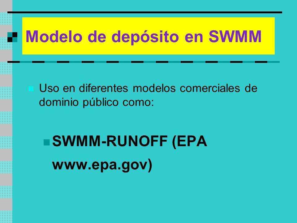 Modelo de depósito en SWMM Uso en diferentes modelos comerciales de dominio público como: SWMM-RUNOFF (EPA www.epa.gov)