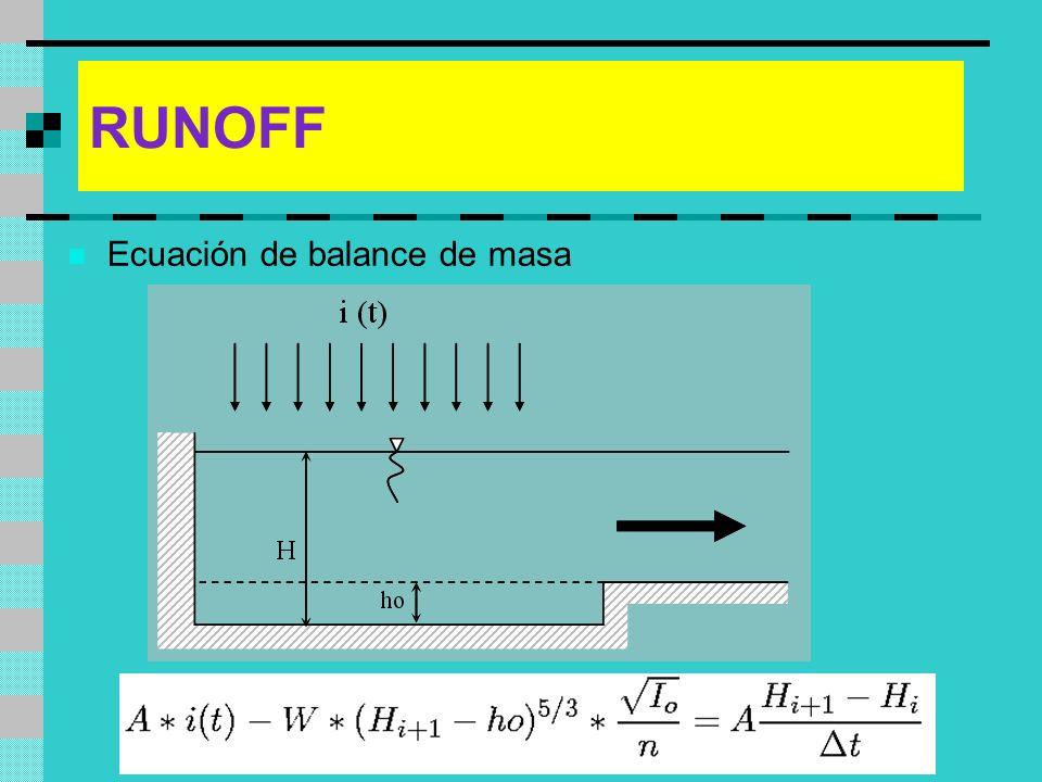 RUNOFF Ecuación de balance de masa
