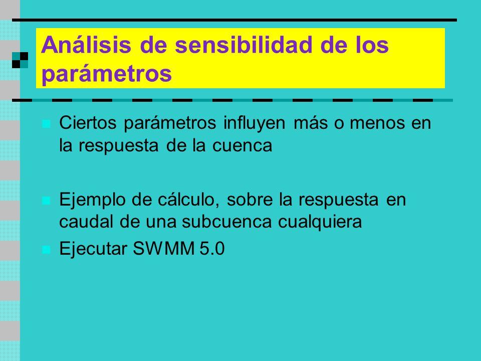 Análisis de sensibilidad de los parámetros Ciertos parámetros influyen más o menos en la respuesta de la cuenca Ejemplo de cálculo, sobre la respuesta