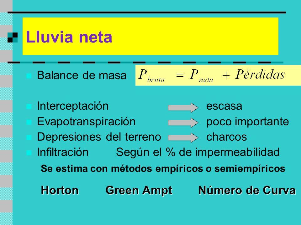 Lluvia neta Balance de masa Interceptaciónescasa Evapotranspiraciónpoco importante Depresiones del terrenocharcos InfiltraciónSegún el % de impermeabi