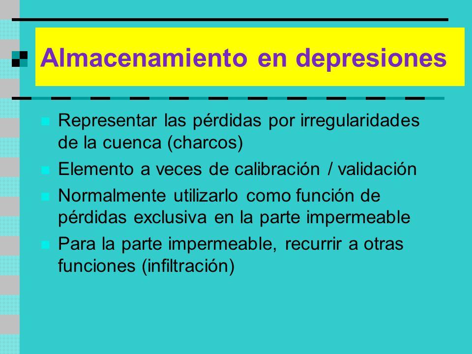 Almacenamiento en depresiones Representar las pérdidas por irregularidades de la cuenca (charcos) Elemento a veces de calibración / validación Normalm