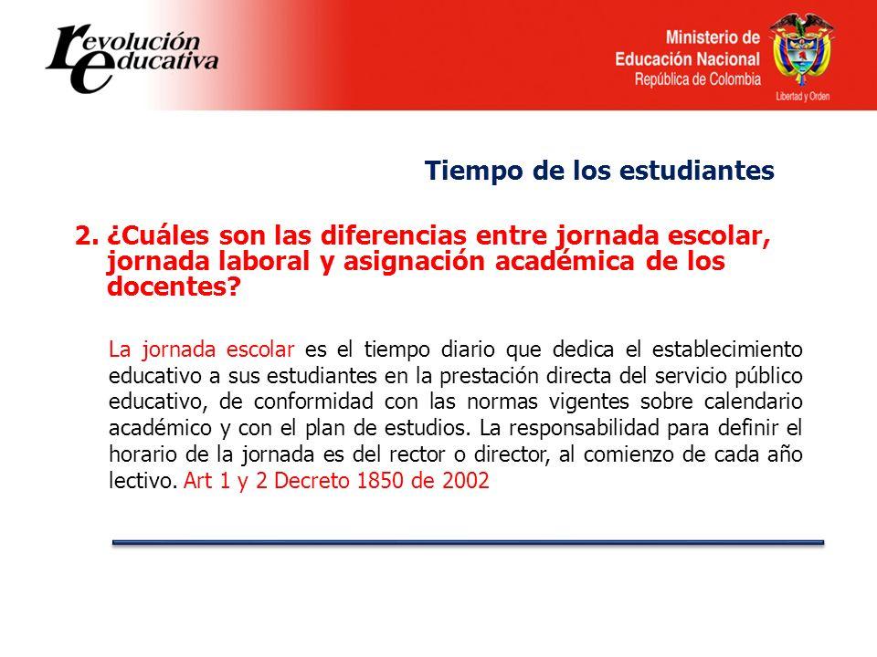 2.¿Cuáles son las diferencias entre jornada escolar, jornada laboral y asignación académica de los docentes? La jornada escolar es el tiempo diario qu