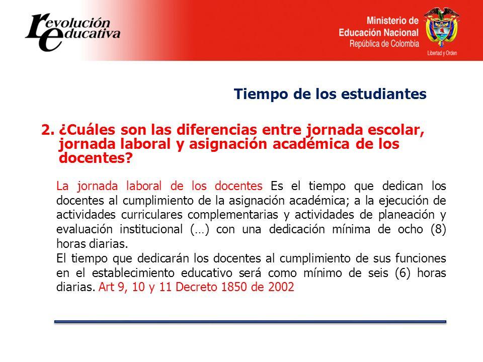 2.¿Cuáles son las diferencias entre jornada escolar, jornada laboral y asignación académica de los docentes? La jornada laboral de los docentes Es el