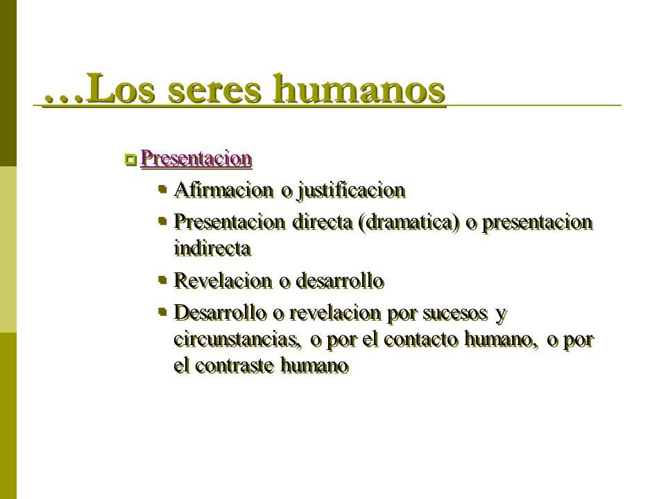 …Los seres humanos Presentacion Afirmacion o justificacion Presentacion directa (dramatica) o presentacion indirecta Revelacion o desarrollo Desarroll
