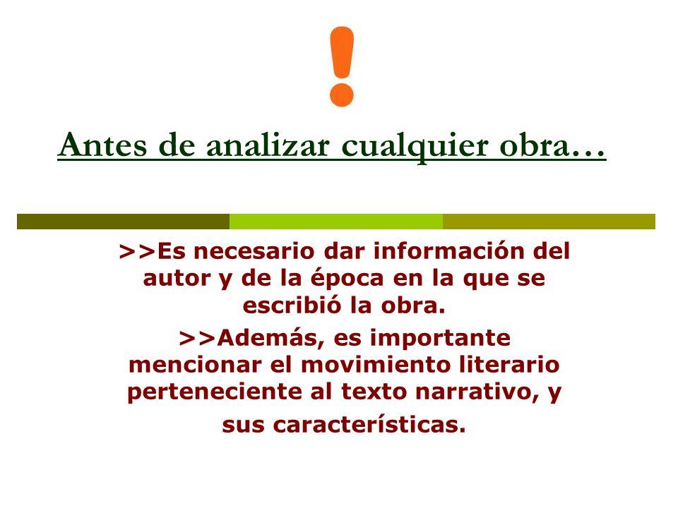 Antes de analizar cualquier obra… >>Es necesario dar información del autor y de la época en la que se escribió la obra. >>Además, es importante mencio