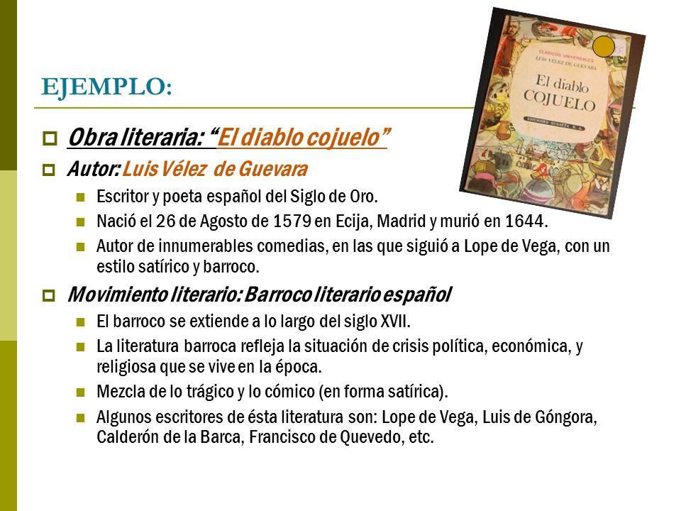 EJEMPLO: Obra literaria: El diablo cojuelo Autor: Luis Vélez de Guevara Escritor y poeta español del Siglo de Oro. Nació el 26 de Agosto de 1579 en Ec