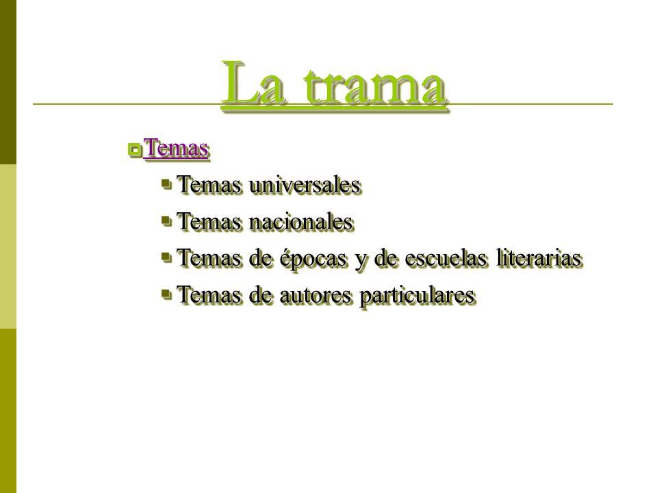 La trama Temas Temas Temas universales Temas universales Temas nacionales Temas nacionales Temas de épocas y de escuelas literarias Temas de épocas y