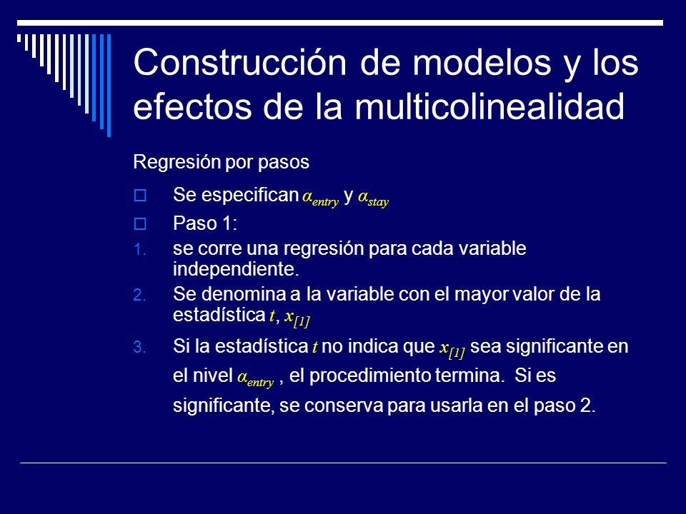 Construcción de modelos y los efectos de la multicolinealidad Regresión por pasos Se especifican α entry y α stay Paso 1: 1.