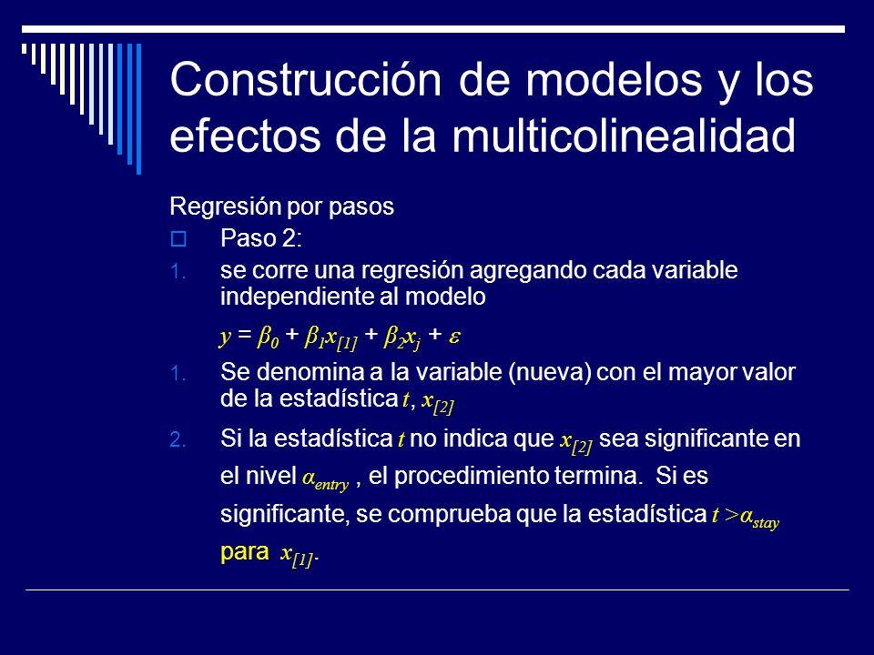 Construcción de modelos y los efectos de la multicolinealidad Regresión por pasos Paso 2: 1.