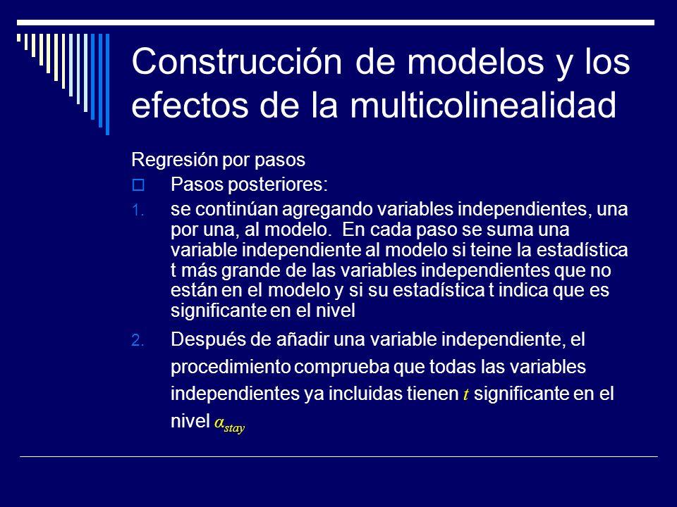 Construcción de modelos y los efectos de la multicolinealidad Regresión por pasos Pasos posteriores: 1.
