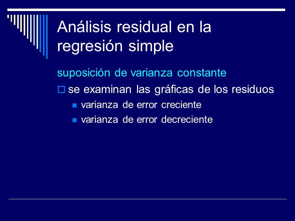 Análisis residual en la regresión simple suposición de varianza constante se examinan las gráficas de los residuos varianza de error creciente varianza de error decreciente