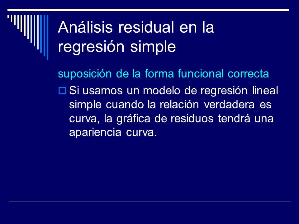 Análisis residual en la regresión simple suposición de la forma funcional correcta Si usamos un modelo de regresión lineal simple cuando la relación verdadera es curva, la gráfica de residuos tendrá una apariencia curva.