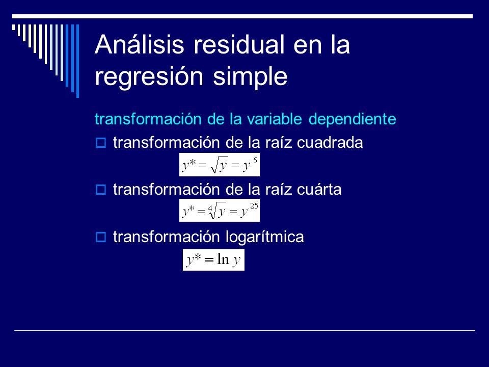 Análisis residual en la regresión simple transformación de la variable dependiente transformación de la raíz cuadrada transformación de la raíz cuárta transformación logarítmica