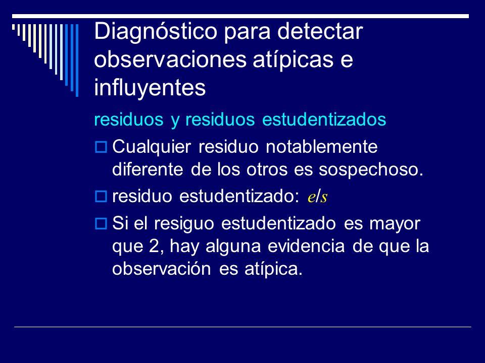 Diagnóstico para detectar observaciones atípicas e influyentes residuos y residuos estudentizados Cualquier residuo notablemente diferente de los otros es sospechoso.