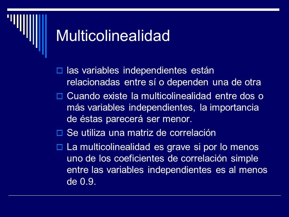 Multicolinealidad las variables independientes están relacionadas entre sí o dependen una de otra Cuando existe la multicolinealidad entre dos o más variables independientes, la importancia de éstas parecerá ser menor.
