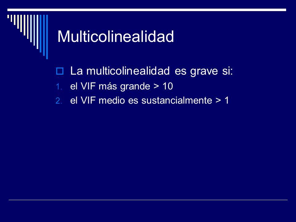 Multicolinealidad La multicolinealidad es grave si: 1.