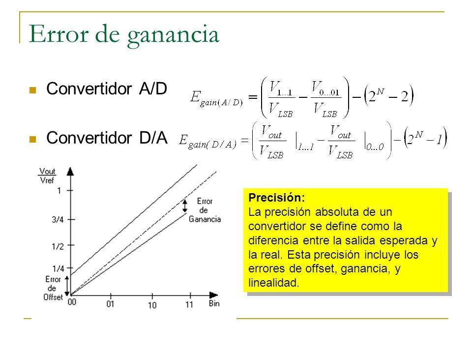 Error de ganancia Convertidor A/D Convertidor D/A Precisión: La precisión absoluta de un convertidor se define como la diferencia entre la salida espe