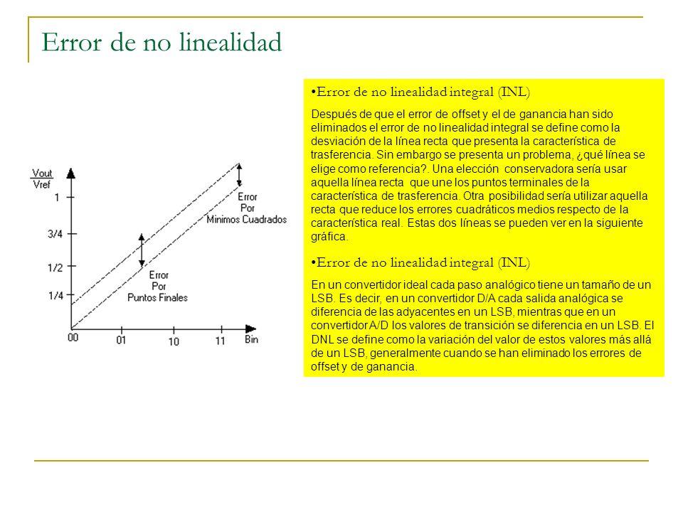 Error de no linealidad Error de no linealidad integral (INL) Después de que el error de offset y el de ganancia han sido eliminados el error de no lin