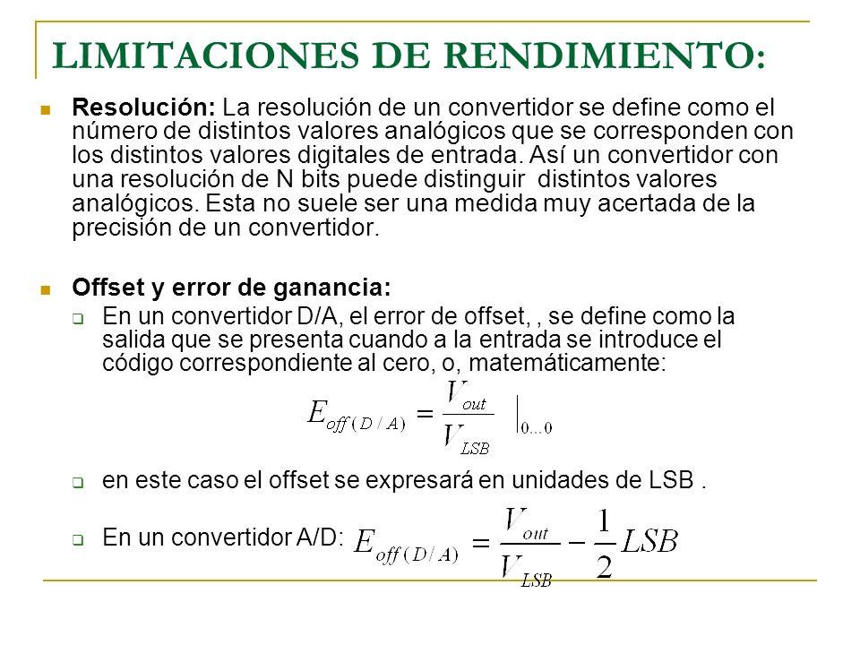 Error de ganancia Convertidor A/D Convertidor D/A Precisión: La precisión absoluta de un convertidor se define como la diferencia entre la salida esperada y la real.