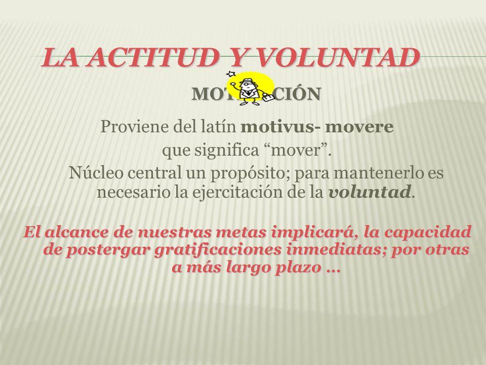 LA ACTITUD Y VOLUNTAD MOTIVACIÓN Proviene del latín motivus- movere que significa mover. Núcleo central un propósito; para mantenerlo es necesario la