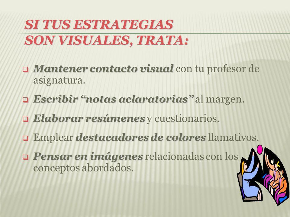 SI TUS ESTRATEGIAS SON VISUALES, TRATA: Mantener contacto visual Mantener contacto visual con tu profesor de asignatura. Escribir notas aclaratorias E