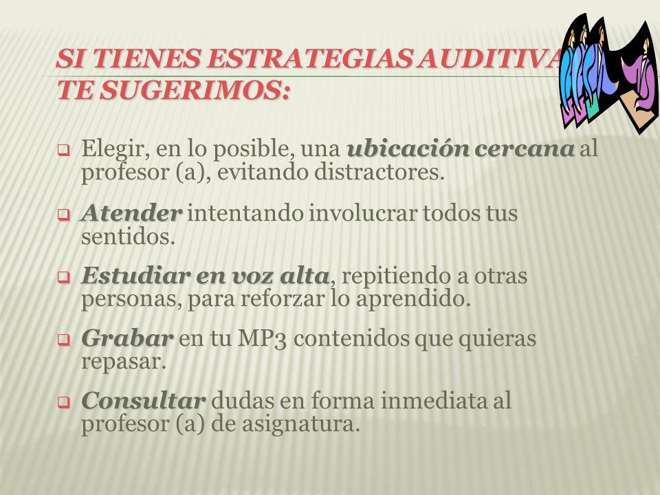 SI TIENES ESTRATEGIAS AUDITIVAS, TE SUGERIMOS: ubicación cercana Elegir, en lo posible, una ubicación cercana al profesor (a), evitando distractores.