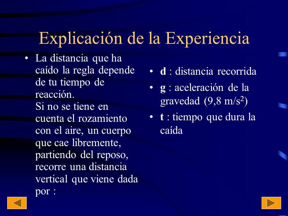 Matemáticamente Despejando de la expresión anterior, el tiempo de reacción será : si se expresa la distancia (d) en centímetros y se tiene en cuenta que la aceleración de la gravedad (g) vale 980 cm/s 2.