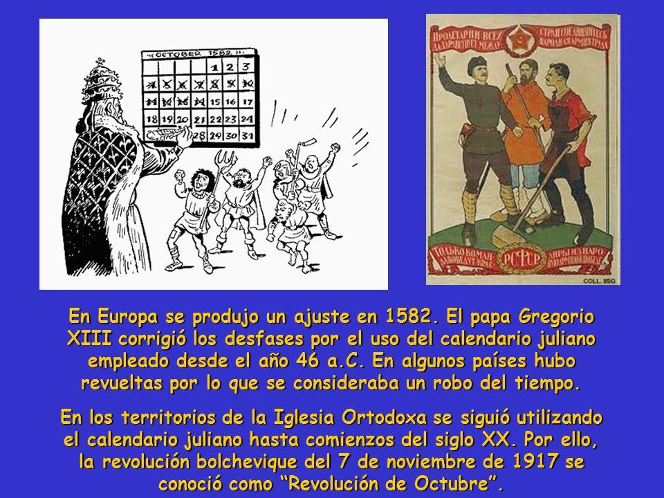 En Europa se produjo un ajuste en 1582. El papa Gregorio XIII corrigió los desfases por el uso del calendario juliano empleado desde el año 46 a.C. En
