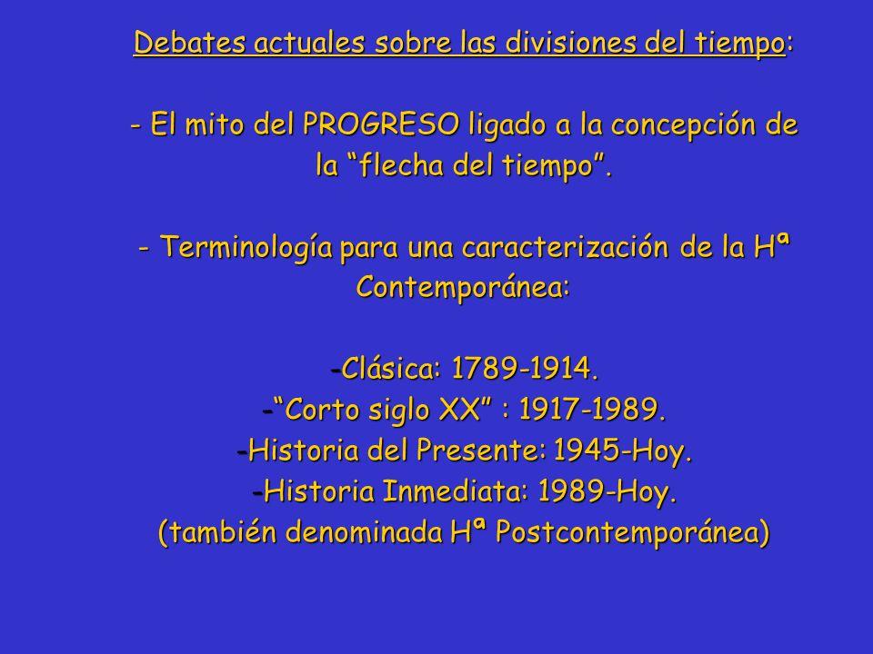 Debates actuales sobre las divisiones del tiempo: - El mito del PROGRESO ligado a la concepción de la flecha del tiempo. - Terminología para una carac