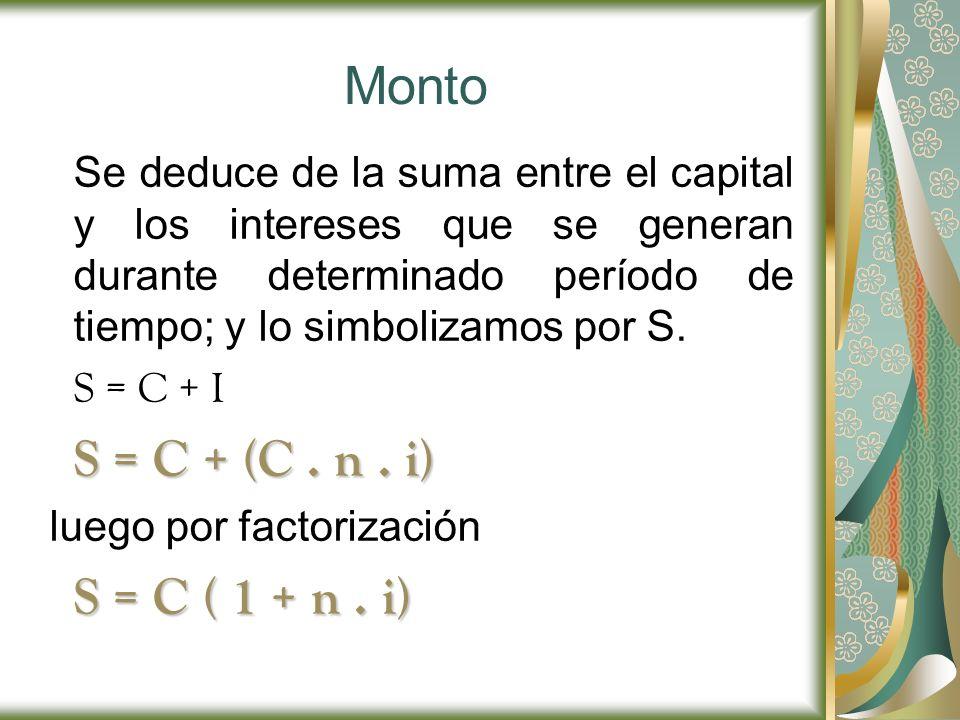 Monto Se deduce de la suma entre el capital y los intereses que se generan durante determinado período de tiempo; y lo simbolizamos por S. S = C + I S