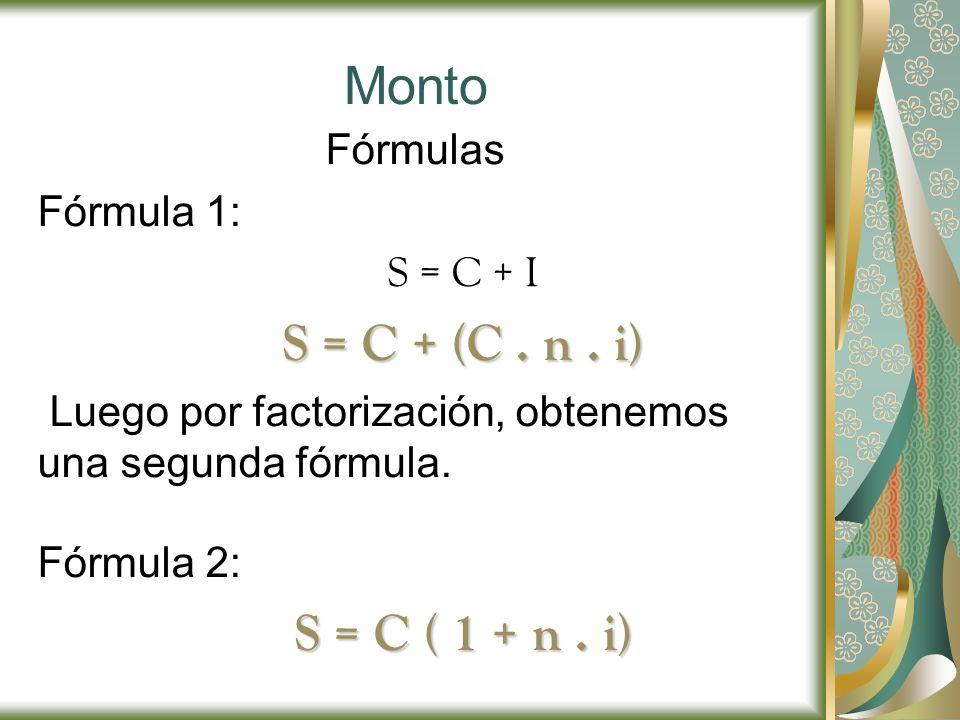 Monto Fórmulas Fórmula 1: S = C + I S = C + (C. n. i) Luego por factorización, obtenemos una segunda fórmula. Fórmula 2: S = C ( 1 + n. i)