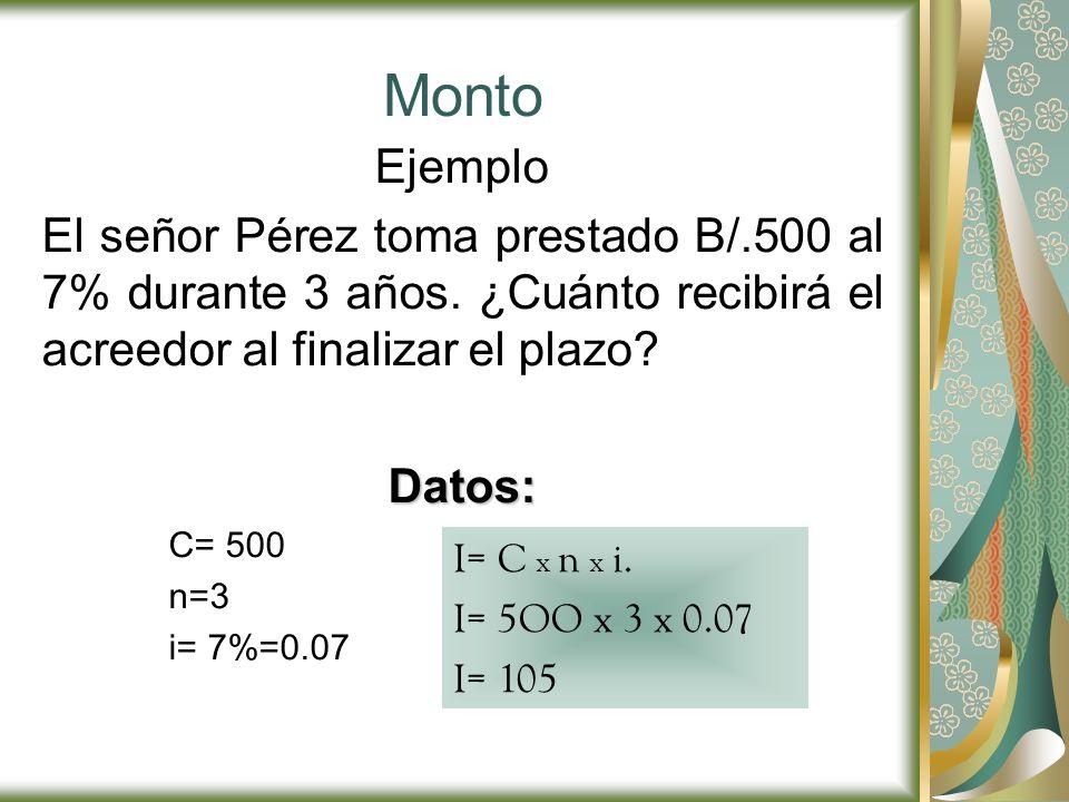 Monto Ejemplo El señor Pérez toma prestado B/.500 al 7% durante 3 años. ¿Cuánto recibirá el acreedor al finalizar el plazo?Datos: C= 500 n=3 i= 7%=0.0
