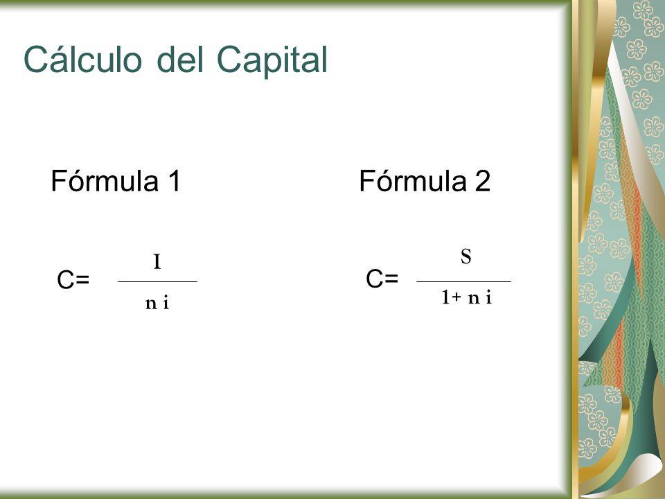Cálculo del Capital Fórmula 1Fórmula 2 C= I n i S 1+ n i