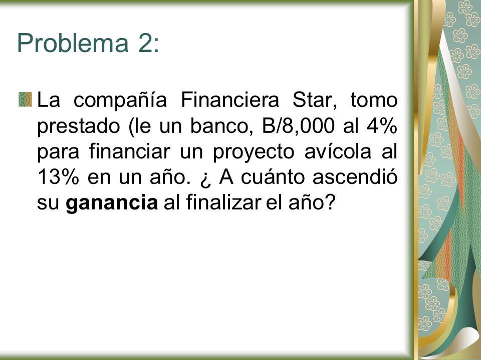Problema 2: La compañía Financiera Star, tomo prestado (le un banco, B/8,000 al 4% para financiar un proyecto avícola al 13% en un año. ¿ A cuánto asc