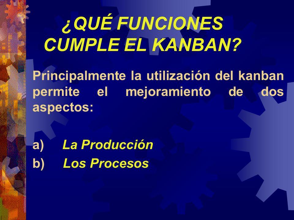 ¿QUÉ FUNCIONES CUMPLE EL KANBAN? Principalmente la utilización del kanban permite el mejoramiento de dos aspectos: a) La Producción b) Los Procesos
