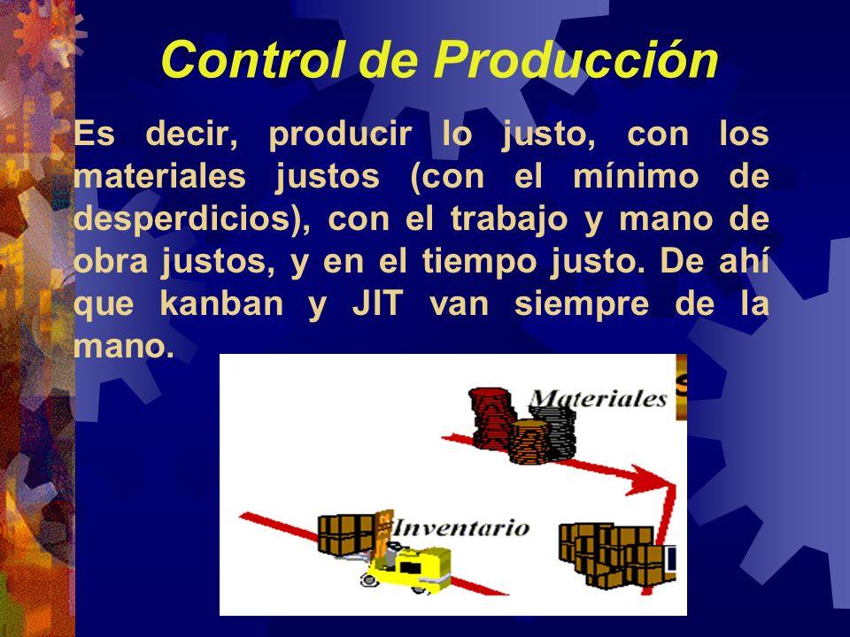 Control de Producción Es decir, producir lo justo, con los materiales justos (con el mínimo de desperdicios), con el trabajo y mano de obra justos, y