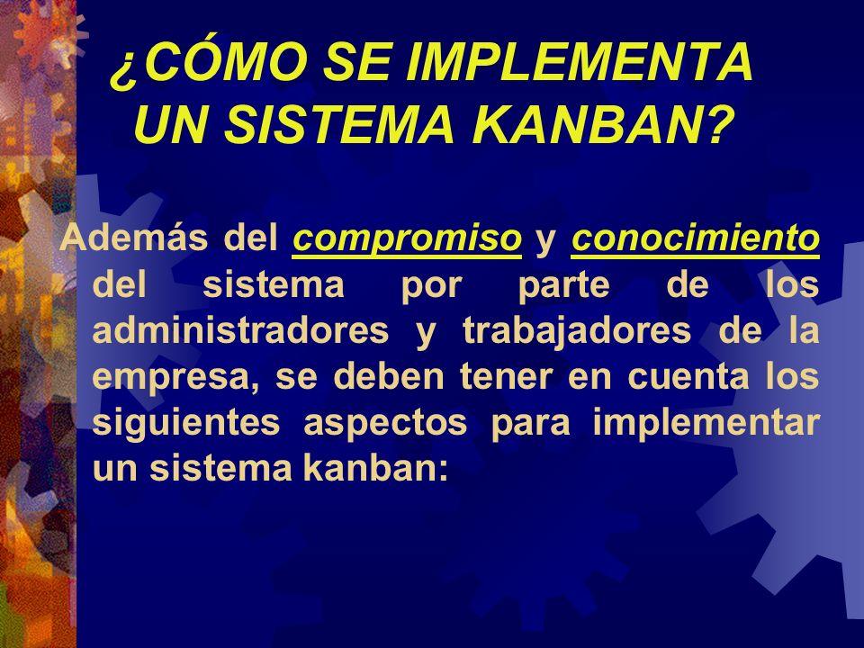¿CÓMO SE IMPLEMENTA UN SISTEMA KANBAN? Además del compromiso y conocimiento del sistema por parte de los administradores y trabajadores de la empresa,
