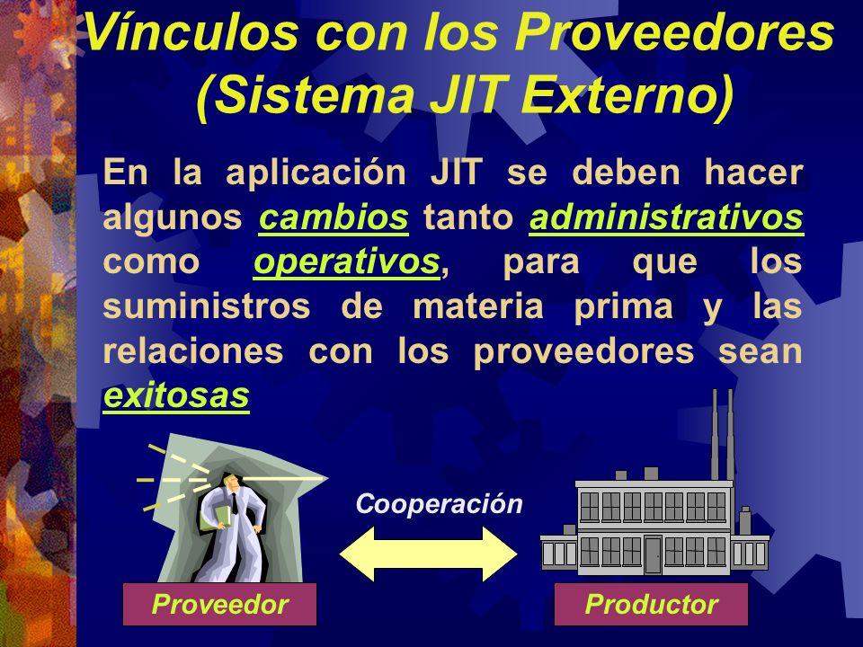 En la aplicación JIT se deben hacer algunos cambios tanto administrativos como operativos, para que los suministros de materia prima y las relaciones