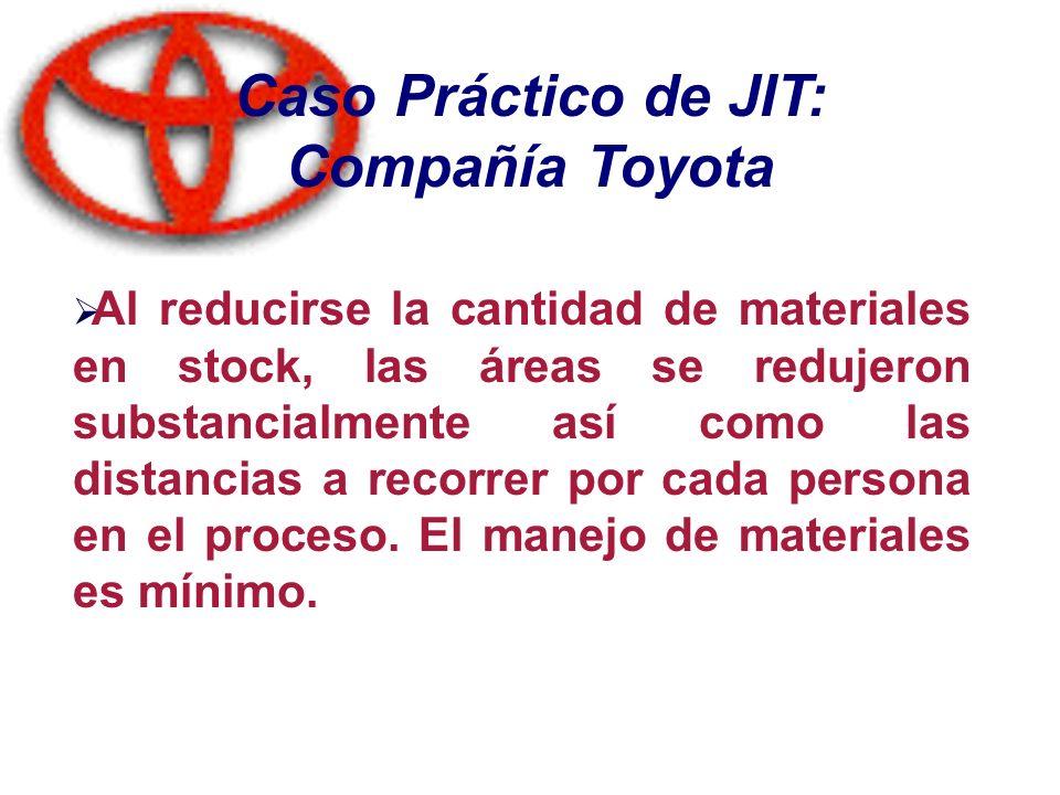 Caso Práctico de JIT: Compañía Toyota Al reducirse la cantidad de materiales en stock, las áreas se redujeron substancialmente así como las distancias